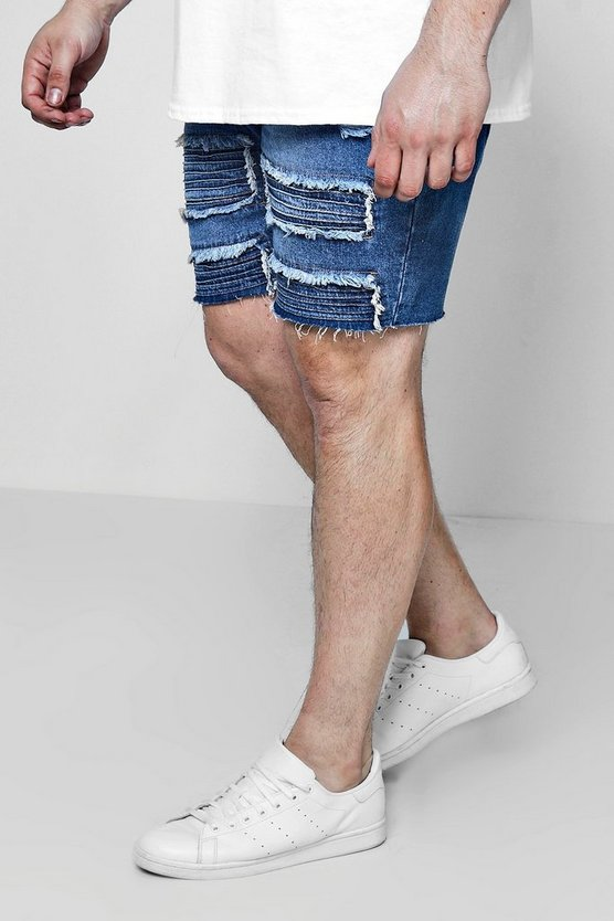 Big And Tall Repaired Biker Detail Denim Shorts