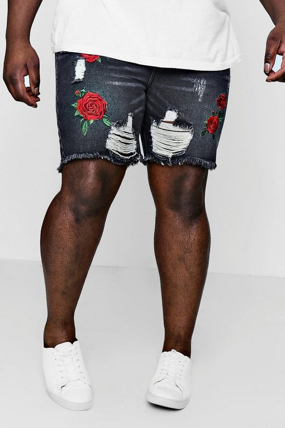 Mens Charcoal Big And Tall Embroidered Loose Fit Denim Shorts