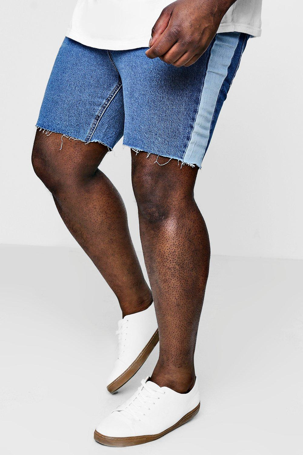 Big And Tall Loose Fit Side Panel Denim Shorts