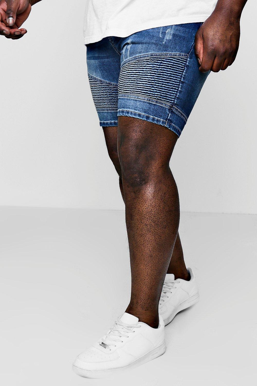 Big And Tall Stretch Skinny Denim Biker Shorts