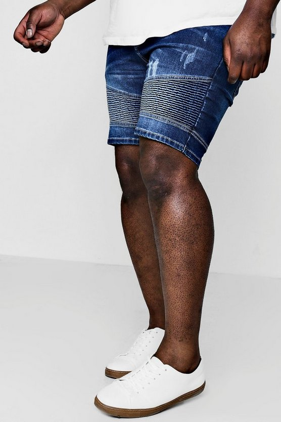 Big And Tall Stretch Skinny Denim Biker Shorts