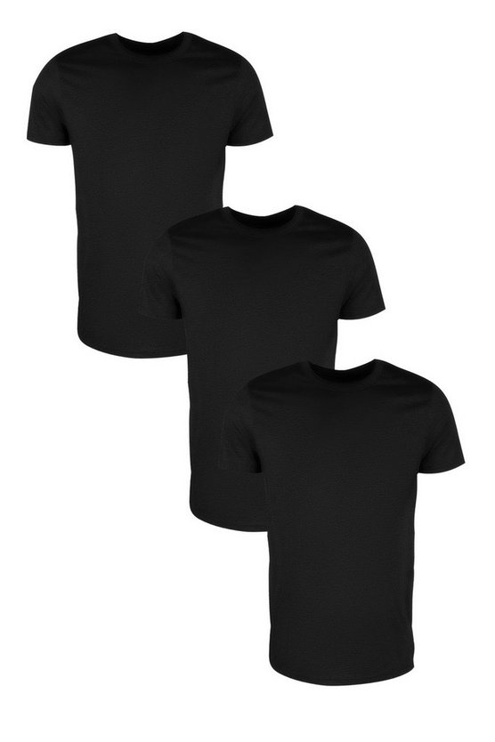 3 Pack Longline Crew Neck T Shirts in Slim Fit