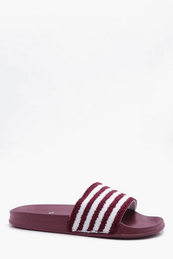 Mens Burgundy Stripe Towelling Slider