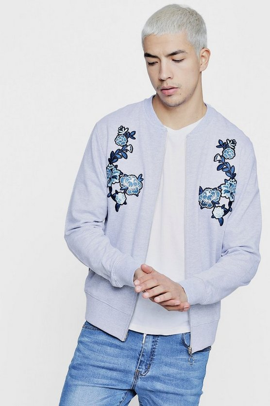 Slim Fit Twin Rose Embroidered Bomber
