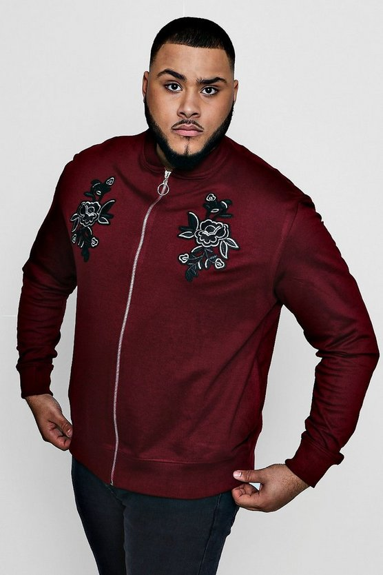 Big And Tall Twin Rose Embroidered Bomber