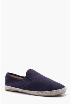 Mens Navy Canvas Espadrilles