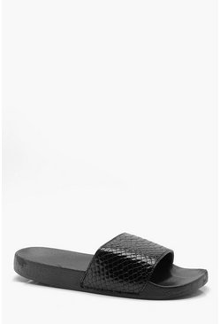 Mens Black Faux Skin Pool Sliders