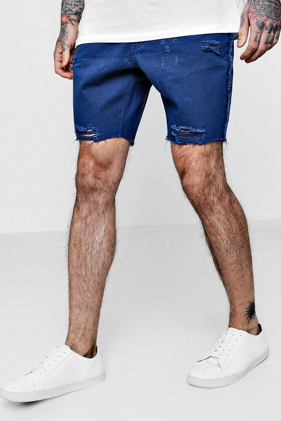Slim Fit Raw Seam Distressed Denim Shorts