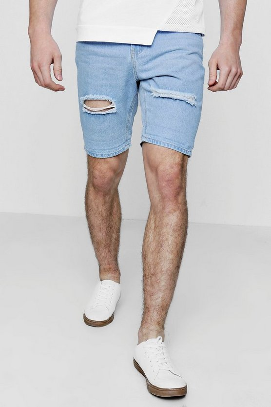 Light blue Slim Fit Distressed Denim Shorts With Turn Up