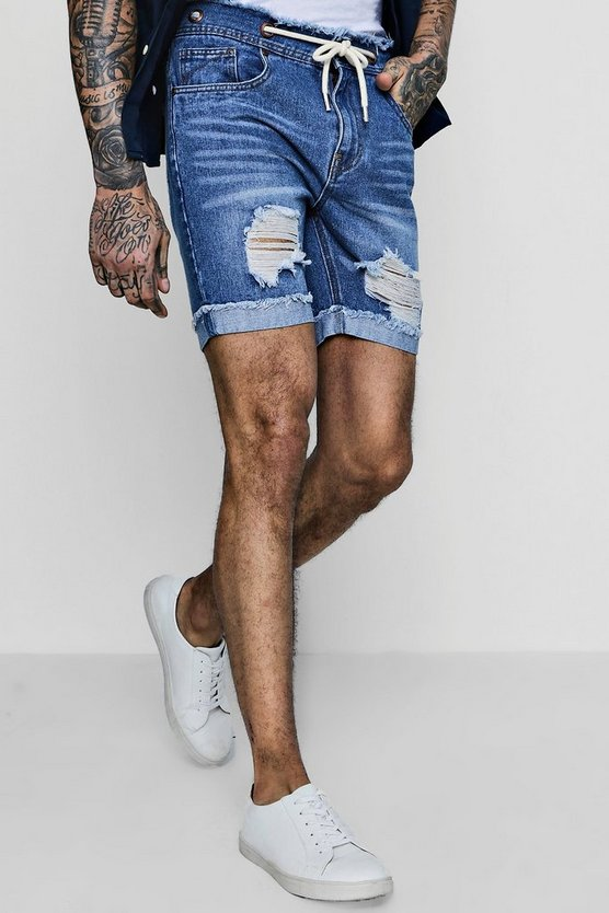 Mens Mid blue Slim Fit Denim Shorts With Raw Waistband