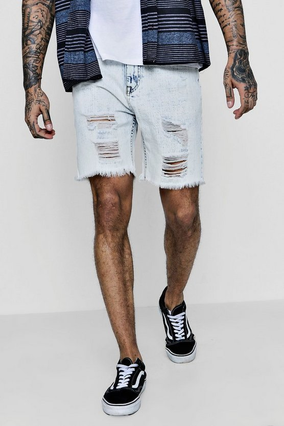 Bermuda Denim Shorts with Distressing and Raw Hem