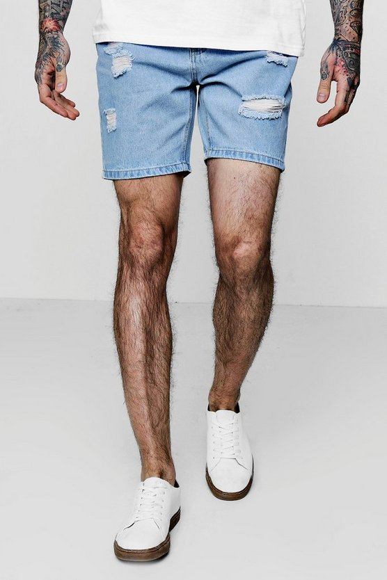 Slim Fit Denim Shorts With Taped Waistband