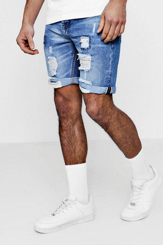 Slim Fit Denim Shorts With Selvedge Taping