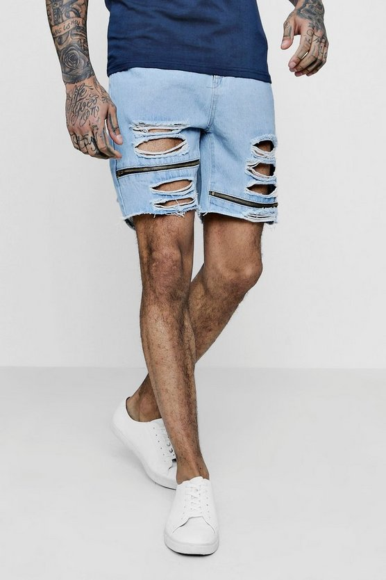 Loose Fit Skater Denim Shorts With Zips