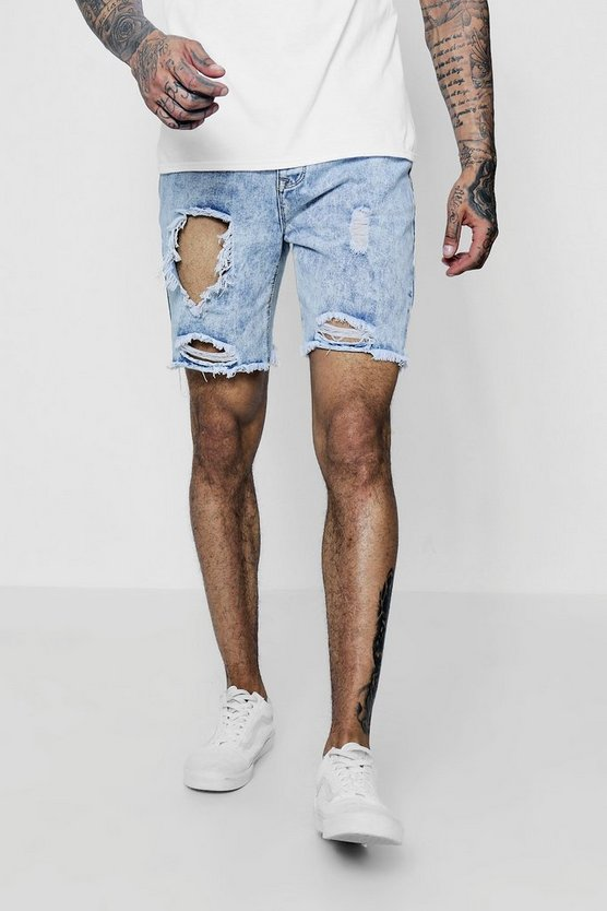 Bermuda Denim Shorts with Open Rips
