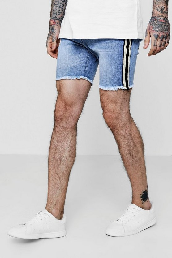 Skinny Fit Denim Shorts with Side Taping