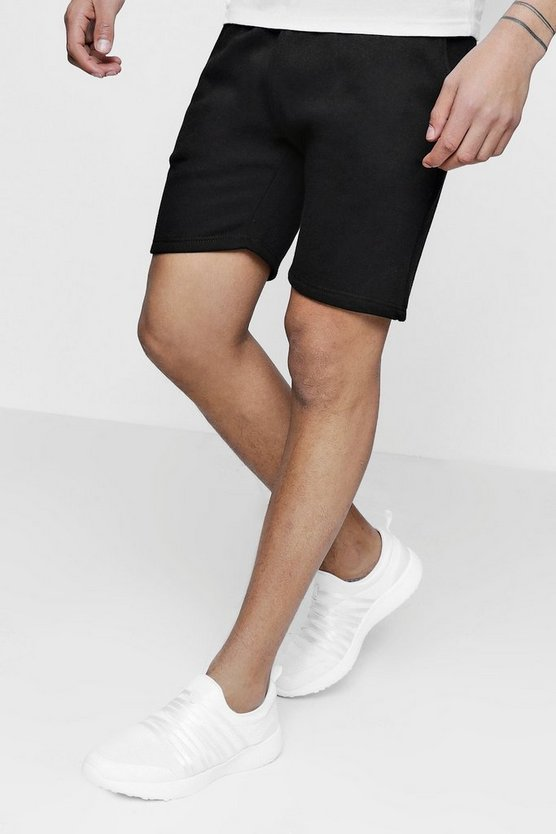 Basic Mid Length Jersey Shorts, Black, HOMMES