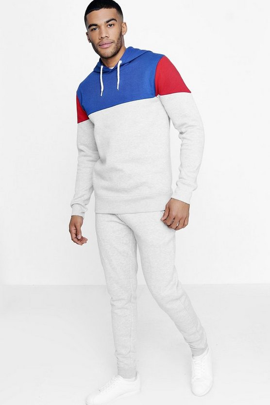 Skinny Fit Colour Block Hooded Tracksuit
