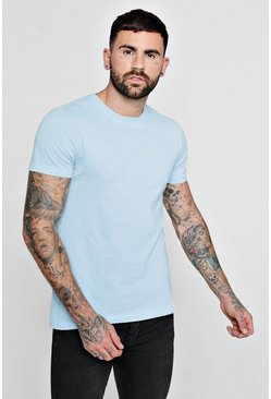 Mens Blue Basic Crew Neck T Shirt