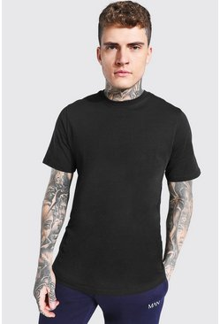 Mens Black Short Sleeve Longline T Shirt with Curve Hem