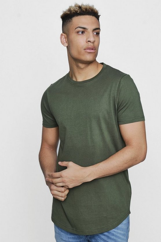 Short Sleeve Longline T Shirt with Curve Hem
