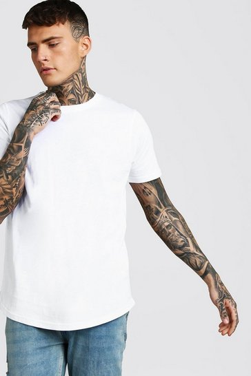 Mens White Short Sleeve Longline T Shirt with Curve Hem