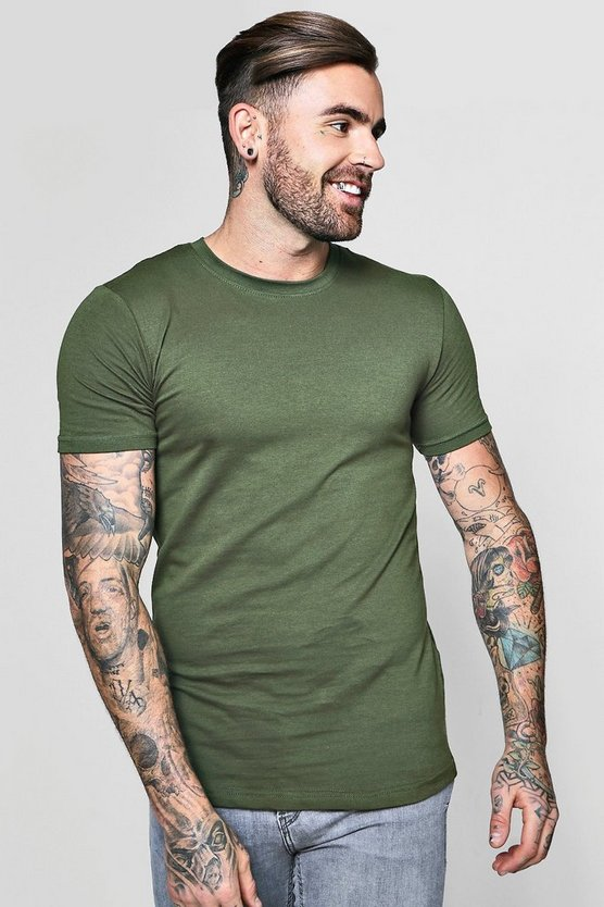 Mens Olive Longline Muscle Fit T-Shirt