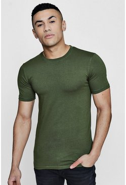 Mens Olive Muscle Fit Crew Neck T Shirt