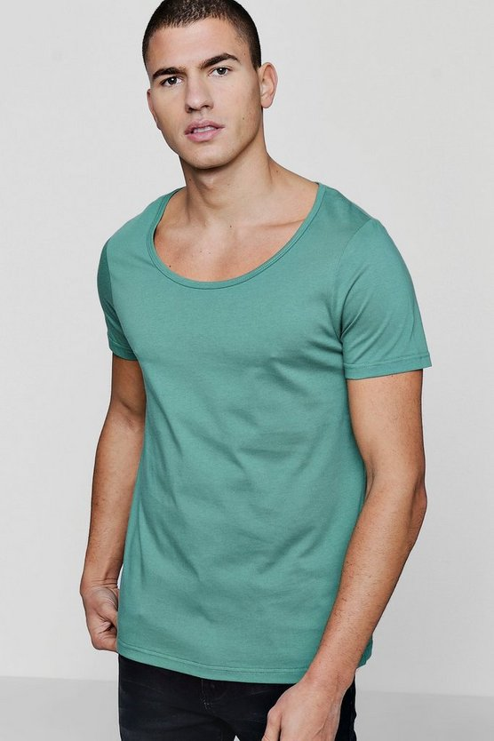 Scoop Neck T-Shirt, Green, HERREN