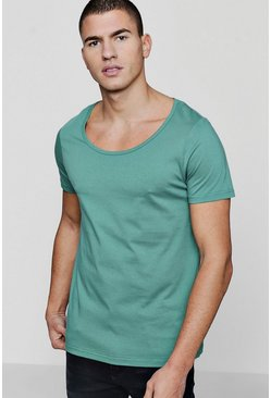 Mens Green Scoop Neck T-Shirt