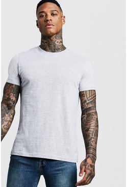 Mens Grey Crew Neck T-Shirt With Rolled Sleeves