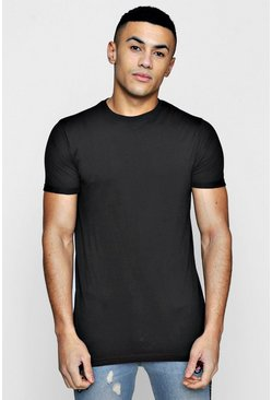 Herr Black Longline Roll Sleeve T-Shirt