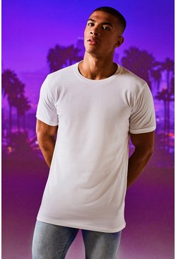 Mens White Longline Roll Sleeve T-Shirt