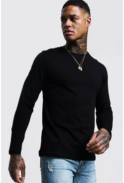 Mens Black Basic Long Sleeve Crew Neck T Shirt