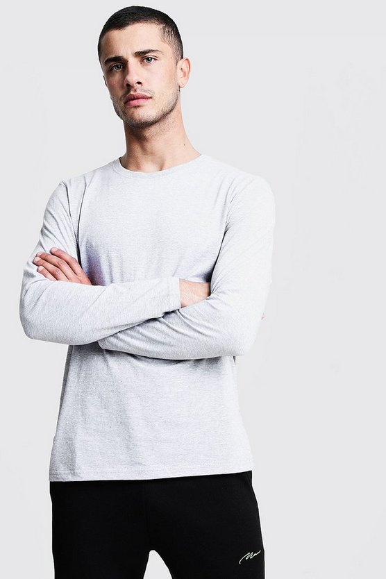 Mens Grey Basic Long Sleeve Crew Neck T Shirt