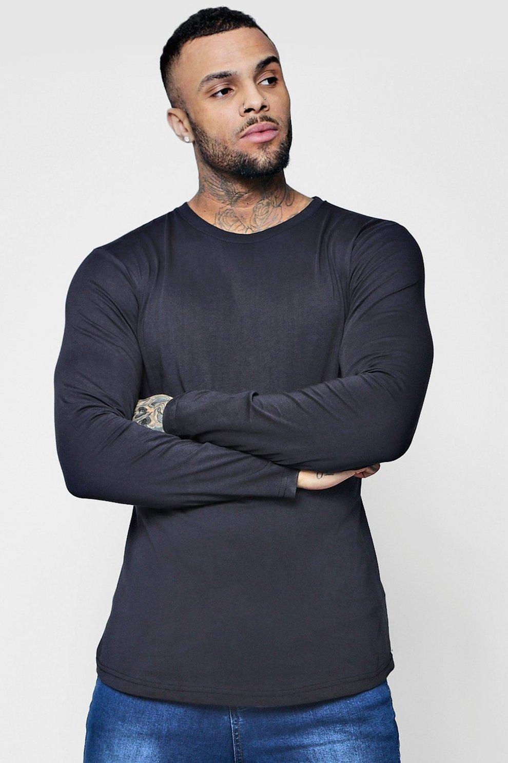 72181ca43 Long Sleeve Longline T-Shirt with Curve Hem - boohooMAN