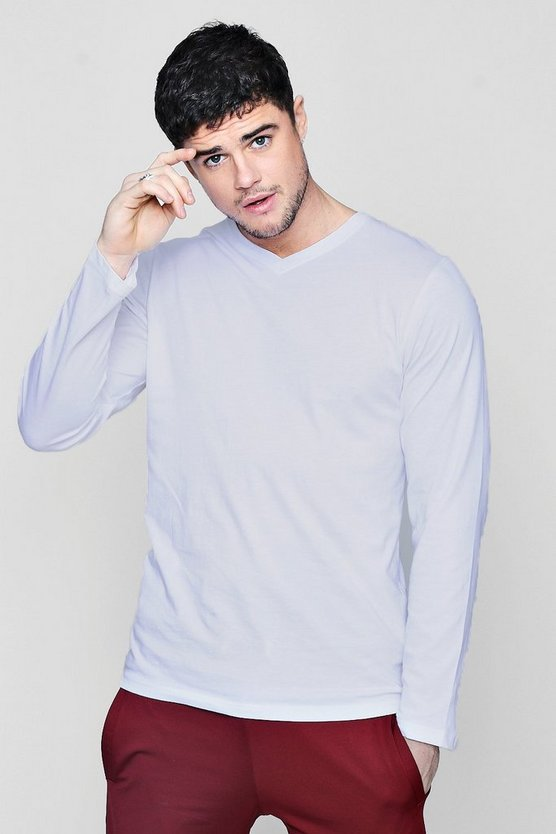 Mens White Long Sleeve V-Neck T-Shirt