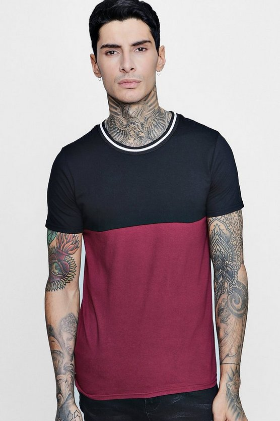 Colour Block T-Shirt With Sports Rib