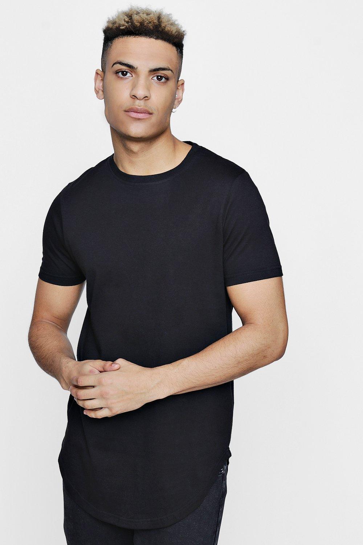 047b56f7c Short Sleeve Longline T Shirt With Curve Hem | Boohoo