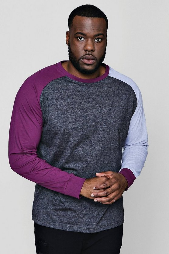 Big And Tall Colour Block Raglan T-Shirt