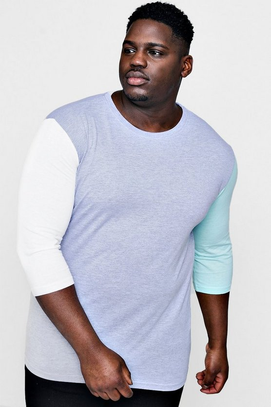 Mens Grey Big And Tall Contrast Colour Block T-Shirt