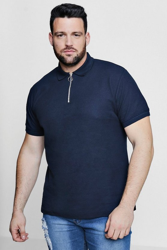 Big And Tall Zipped Collar Pique Polo