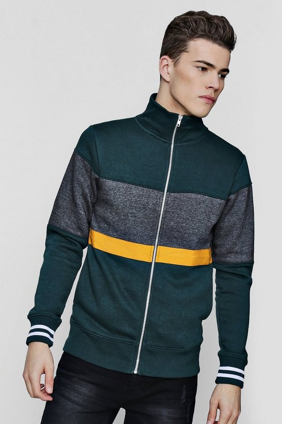 Colour Block Zip Through Track Top