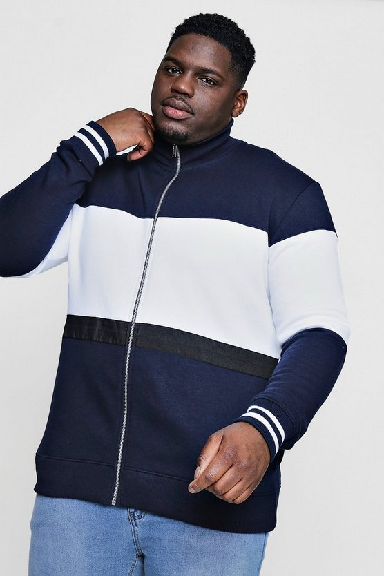 Big And Tall Colour Block Zip Through Harrington