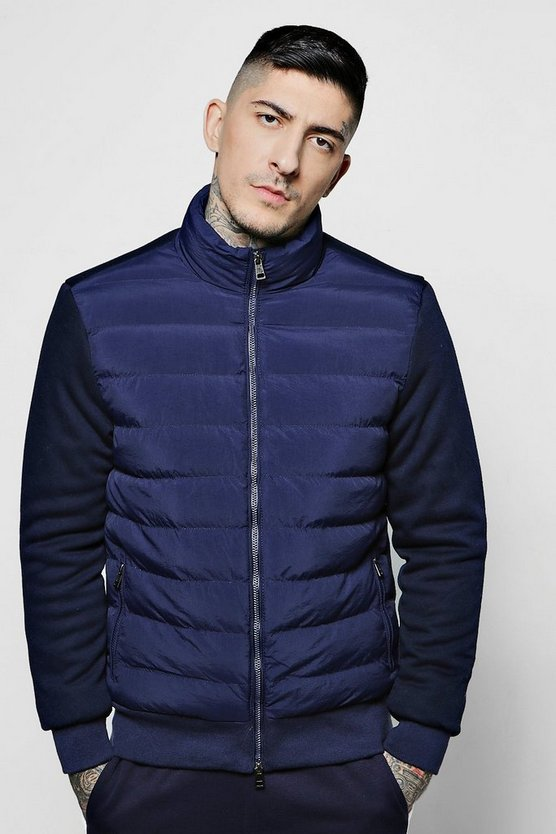 Mens Navy Quilted Funnel Neck Jacket
