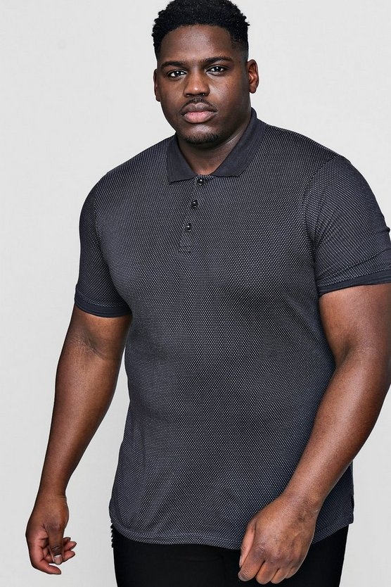 Big And Tall Jacquard Kurzärmeliges Polo-Shirt