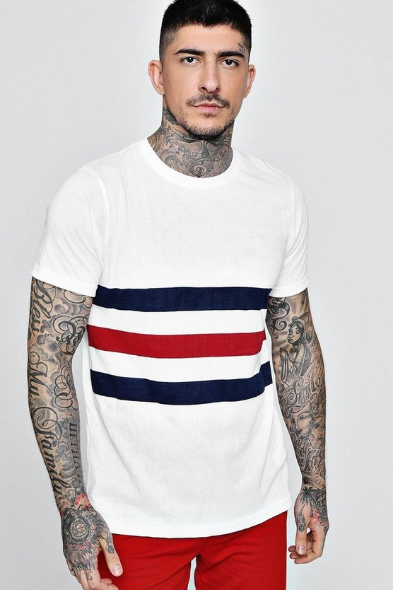 Mens White Stripe T-Shirt