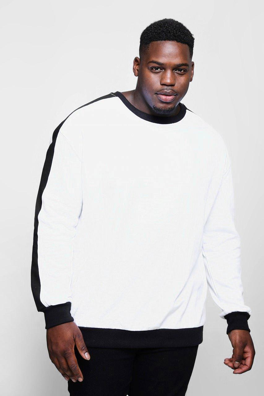 Big And Tall Sweater With Contrast Panel