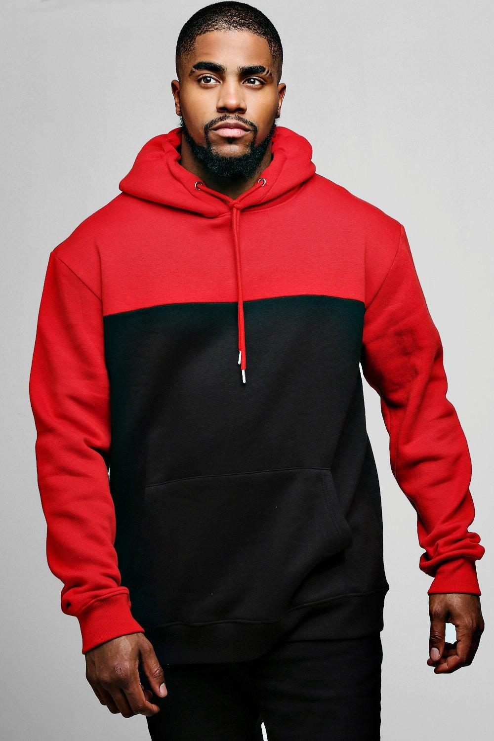 Big And Tall Oversized Contrast Colour Hoodie