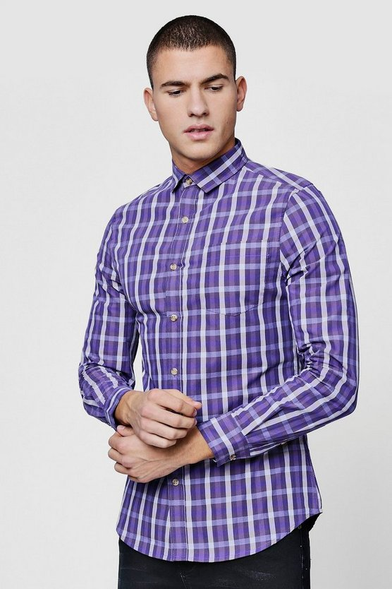 Mens Purple Long Sleeve Slim Fit Purple Check Shirt